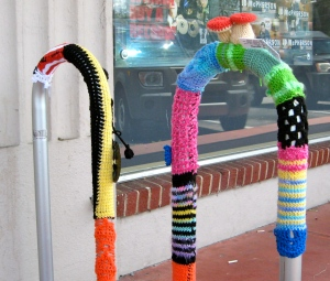 Guerilla knitted bike rack.